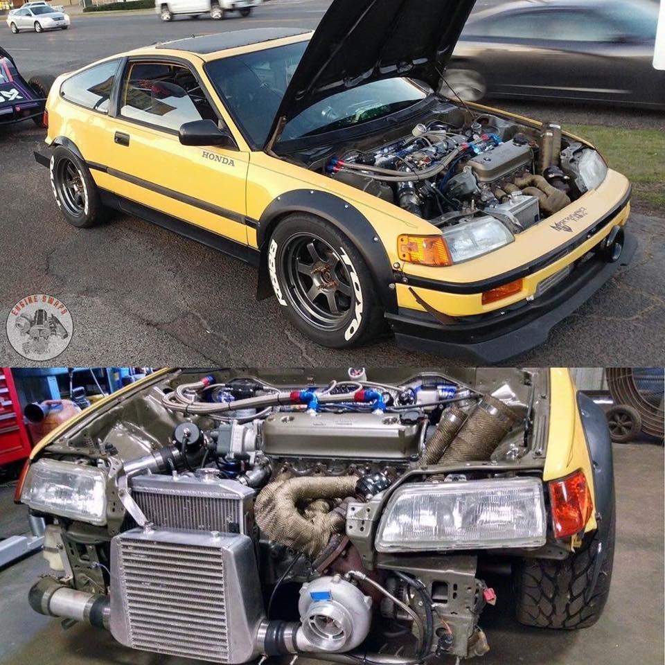 Turbo 2.2L F22A swapped Honda CRX