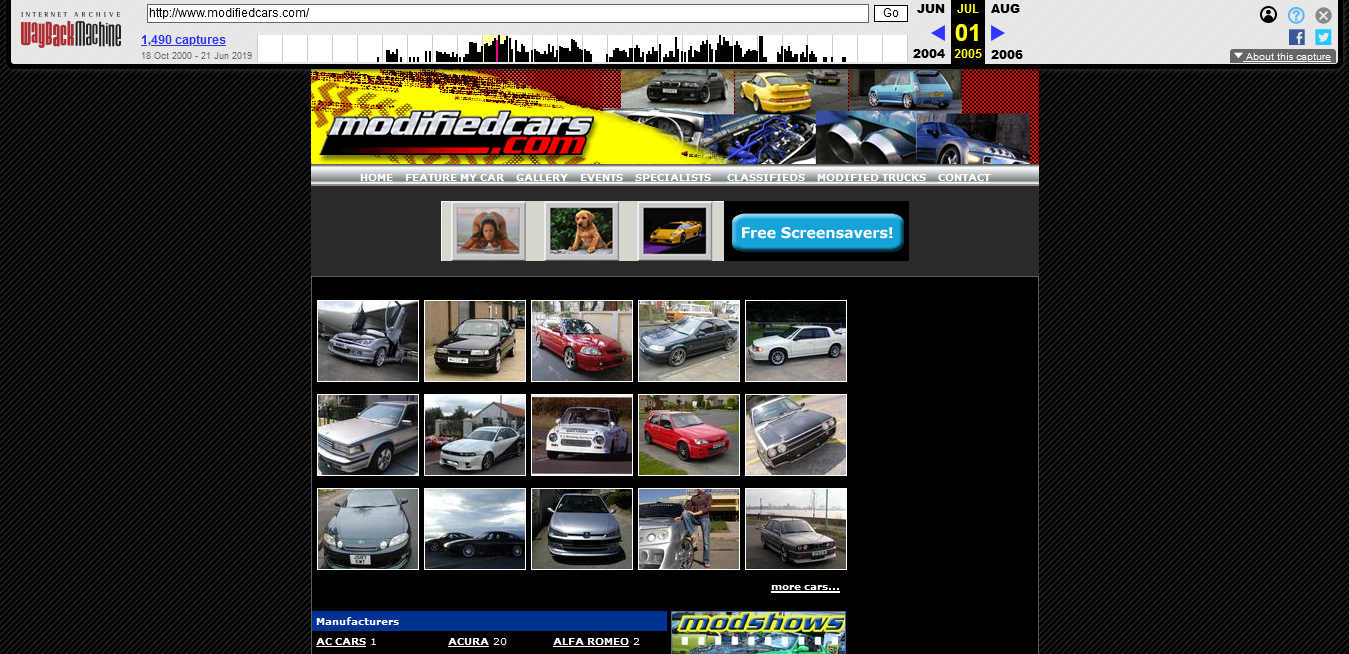 modifiedcars.com in 2001